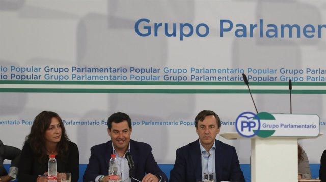 Juanma Moreno, hoy junto a Loles López y Rafael Hernando