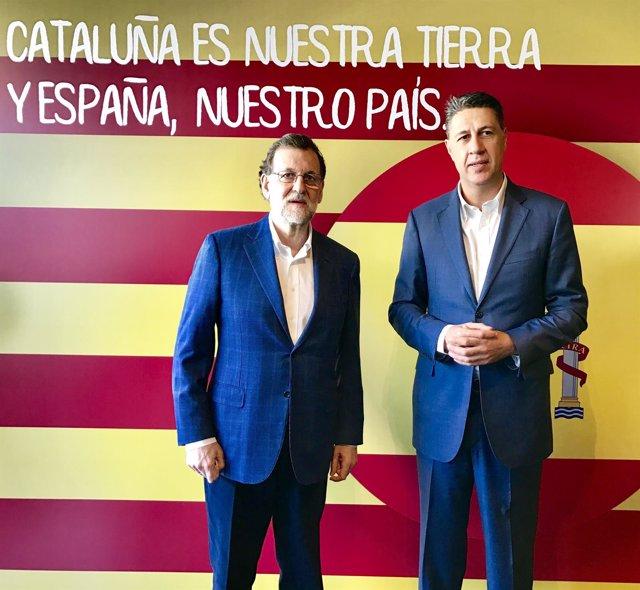 El presidente del Gobierno, Mariano Rajoy, con Xavier García Albiol