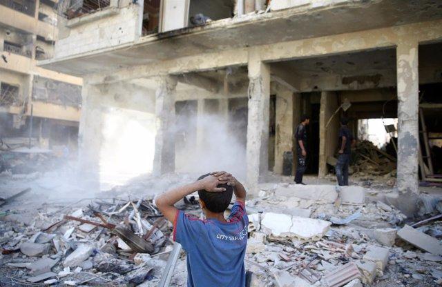 Ataque aéreo en Duma, en Ghuta