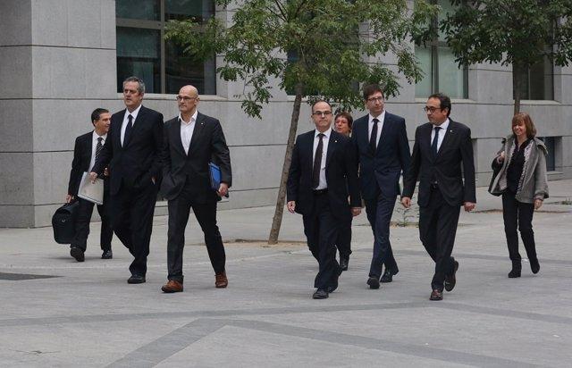 Rull, Forn, Romeva, Turull y Borràs llegan a la Audiencia Nacional para declarar