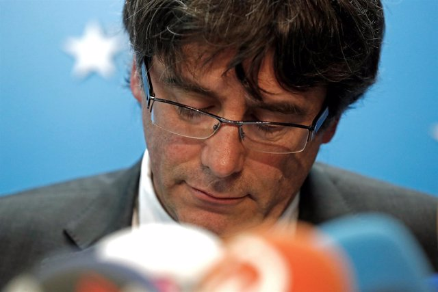 Puigdemont en la rueda de prensa de Bruselas