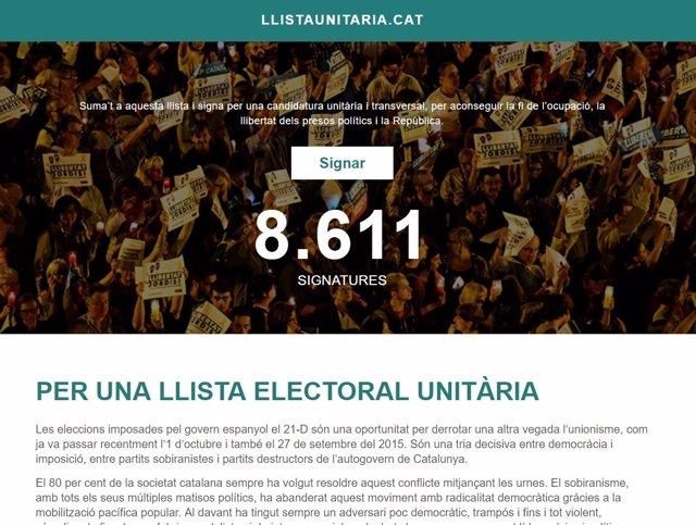 Página web que pide apoyar la lista unitaria al 21D