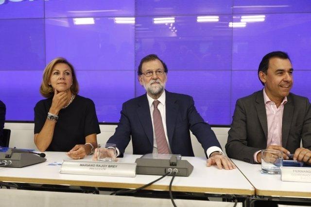 Rajoy, Cospedal y Fernando Martínez Maillo en la Junta Directiva Nacional