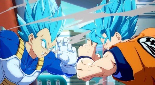 Goku y Vegeta en su forma Super Saiyan Blue
