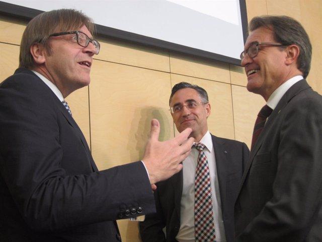 Artur Mas, Guy Verhofstadt y Ramon Tremosa