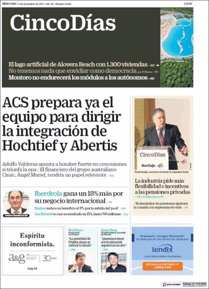 Las portadas de los periódicos económicos de hoy, miércoles 8 de noviembre
