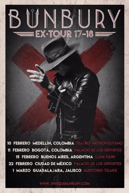 Bunbury anuncia nuevos conciertos en Colombia, Argentina y México