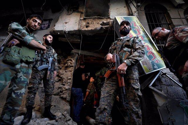 Soldados sirios en Damasco