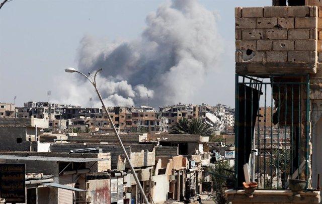 Combates en Raqqa