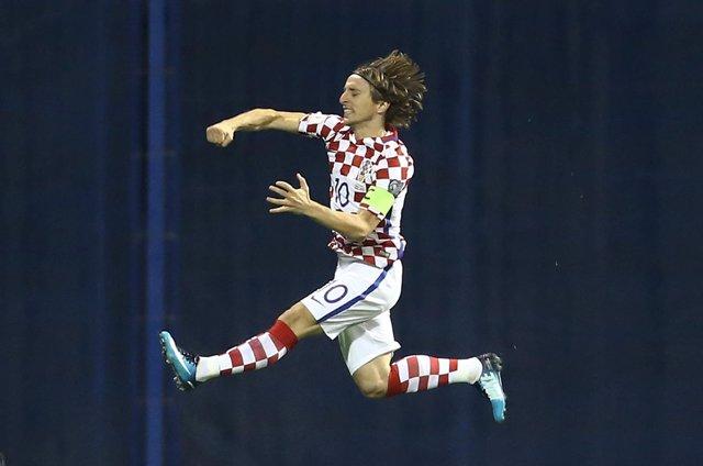 Luka Modric celebra un gol con la selección de Croacia