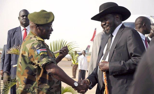 Salva Kiir y el general Paul Malong