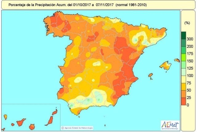 Mapa de lluvias acumuladas del 1-10-2017 al 7-11-2017 en España
