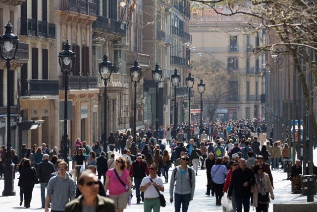 Portal de l'Àngel, Barcelona, comercio, tiendas, turistas