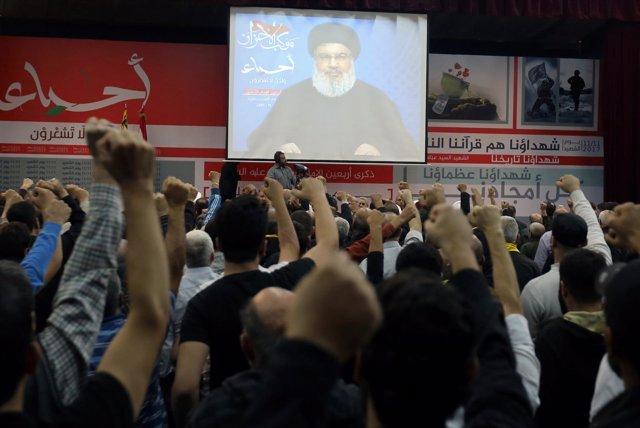 Hasán Nasralá pronuncia un discurso