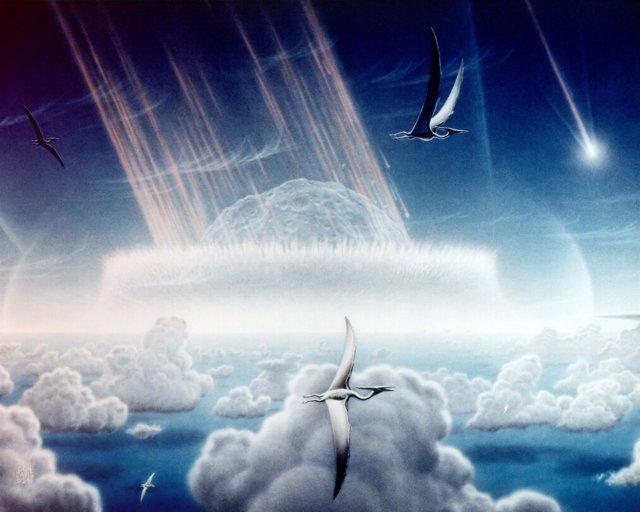 Recreación artística del impacto de asteroide que acabó con los dinoaruios