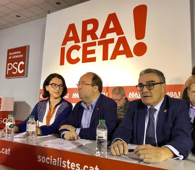 Eva Granados, Miquel Iceta y Àngel Ros, PSC