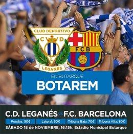 Cartel del Leganés para promocionar la visita del FC Barcelona