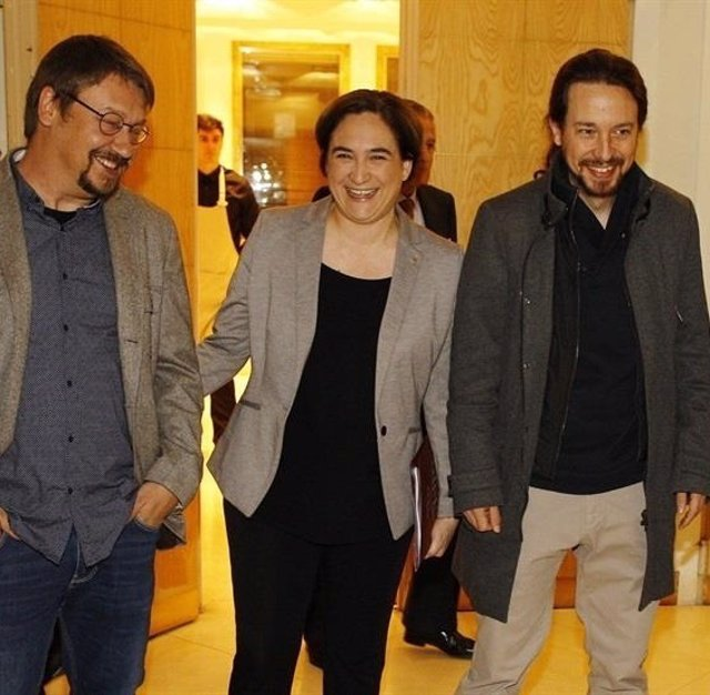 Pablo Iglesias, Xavier Domènech y Ada Colau