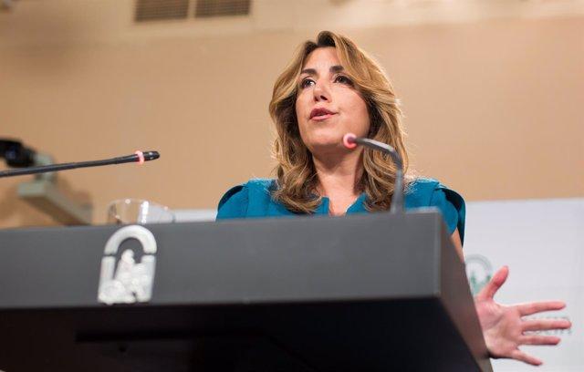 Susana Díaz, en rueda de prensa