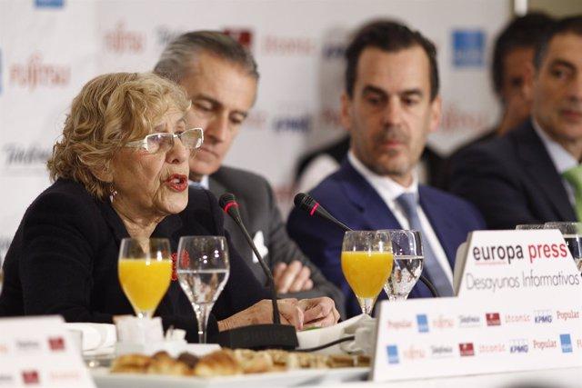Manuela Carmena en los Desayunos de Europa Press