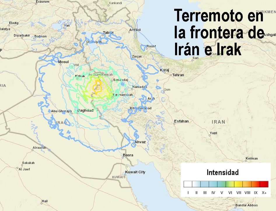 Terremoto en Irán en la frontera con Irak