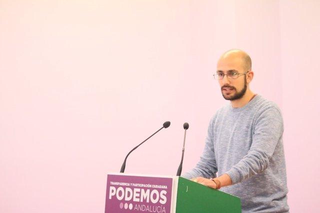 El secretario de Comunicación de Podemos Andalucía, Pablo Pérez Ganfornina