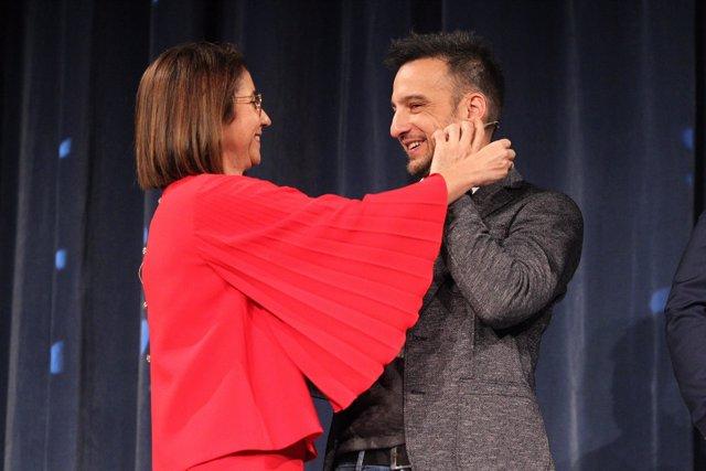 Alejandro Amenábar e Inmaculada García en la presentación del Sorteo de Navidad