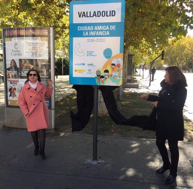Nueva señal identificativa de Valladolid como Ciudad Amiga de la Infancia