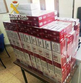 Tabaco de contrabando intervenido en Valls de Valira (Lleida)