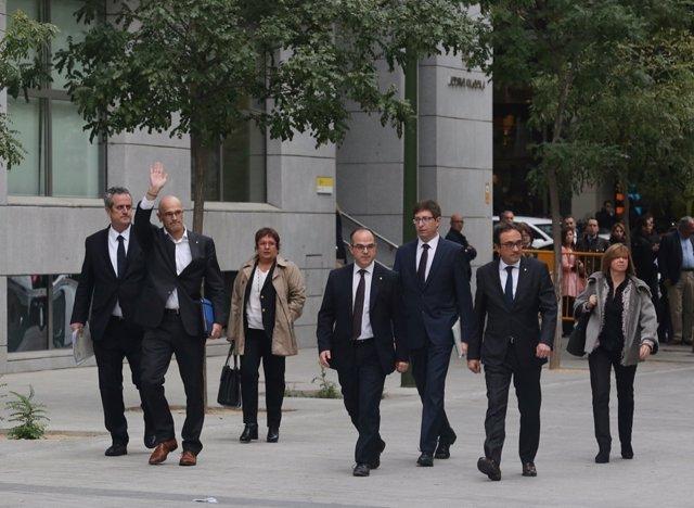 Rull, Forn, Romeva, Turull y Borras llegan a la Audiencia Nacional para declarar