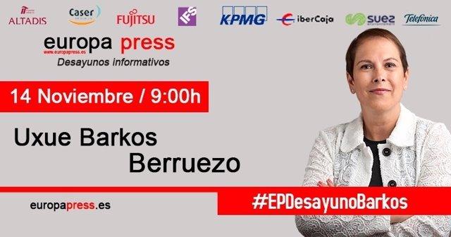 Uxue Barkos participa en un Desayuno Informativo de Europa Press