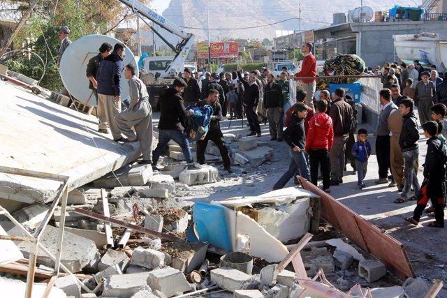 Edificio afectado por el terremoto en Irak