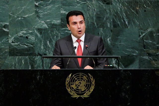 El primer ministro de Macedonia, Zoran Zaev, en las Naciones Unidas (ARCHIVO)