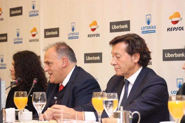 Javier Tebas (Presidente LaLiga) José Ramón Lete (Presidente CSD)