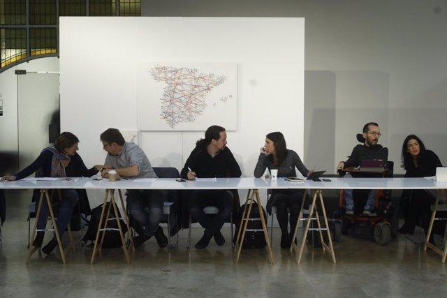 Pablo Iglesias preside una nueva reunión de la iniciativa Rumbo 2020 de Podemos