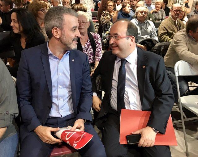 J.Collboni al costat de M.Iceta en el consell de la federació del PSC de Barcelo