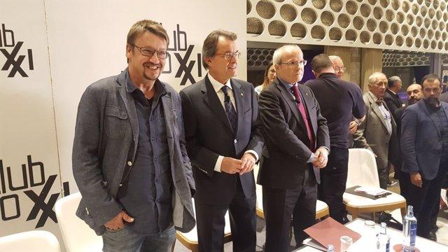 Artur Mas, Xavi Dòmenech y José Montilla en el Club Siglo XXI