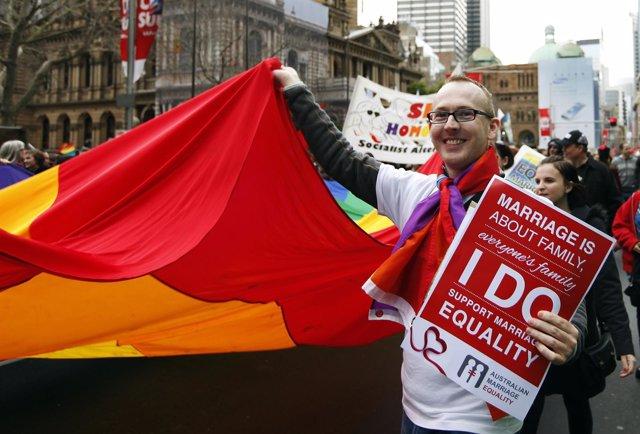 Manifestantes a favor del matrimonio homosexual en Sídney