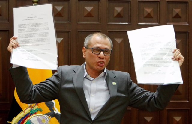 Ecuador's Vice President Jorge Glas gives a news conference after he was relieve