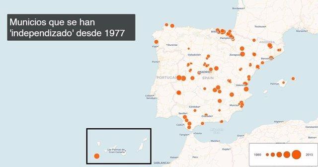 Municipios que se han 'independizado' desde 1977