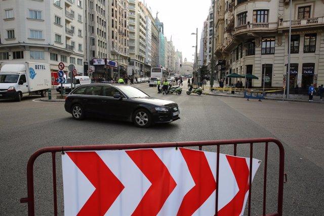 Cortes de tráfico en Gran Vía en Madrid por Navidad