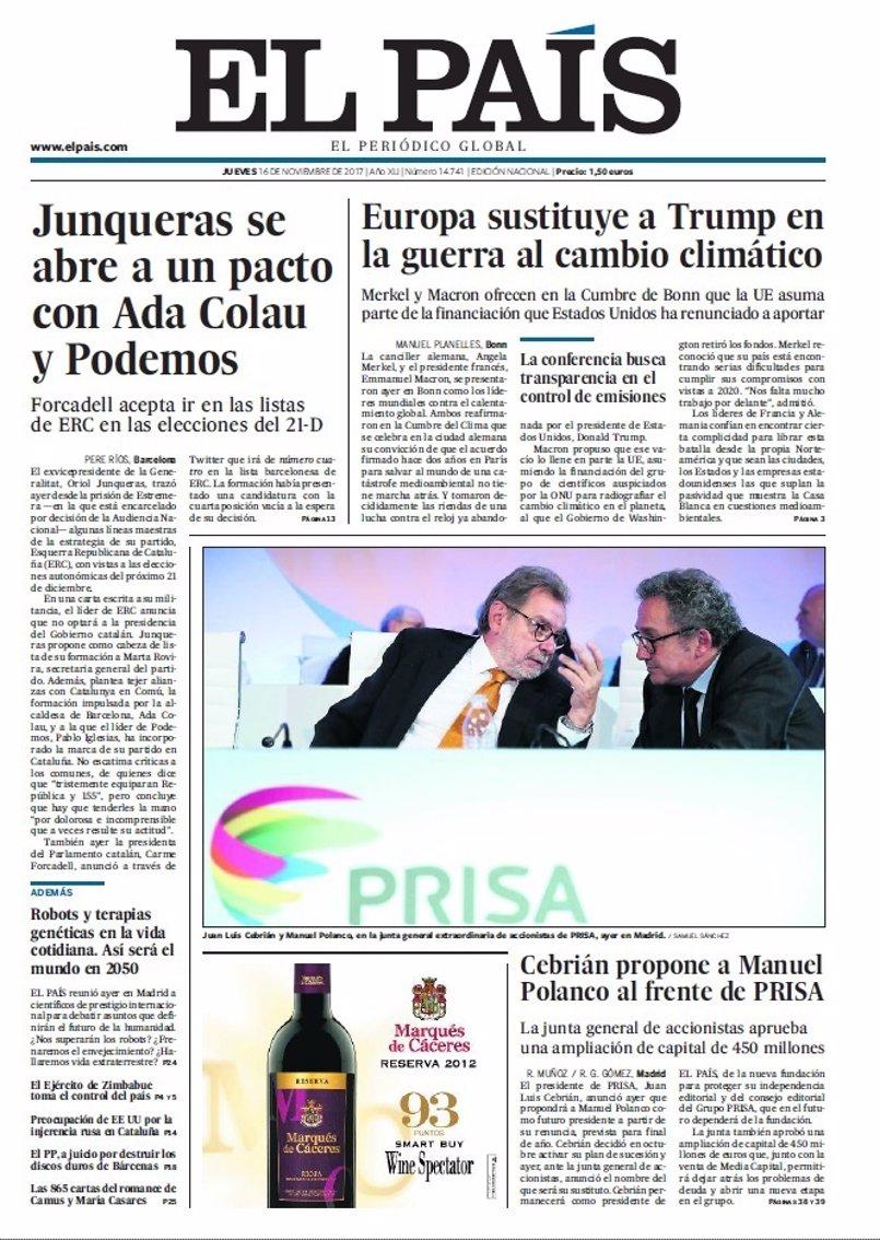 Las portadas de los periódicos de hoy, jueves 16 de noviembre de 2017