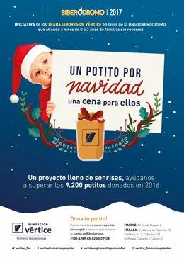 Cartel recogida de potitos niños menores dos años navidad benéfico vértice