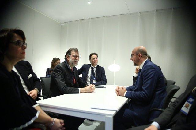 Mariano Rajoy se reúne con el primer ministro belga, Charles Michel