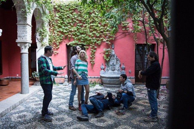 Cineastas durante el rodajes en Córdoba