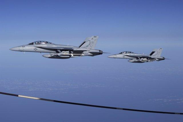 Dos aviones de combate EA-18G Growler de la Armada de Estados Unidos.