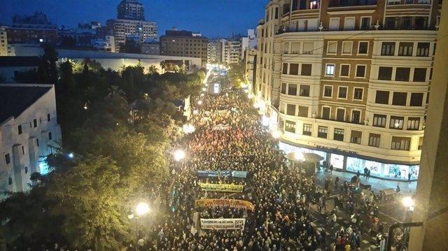 Vista aérea de la marcha