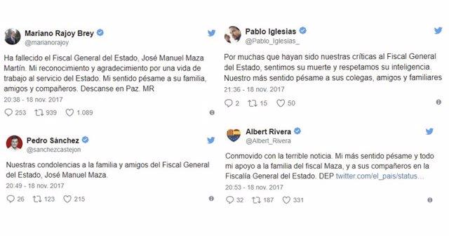 Rajoy Sánchez Iglesias Y Rivera Expresan Su Pésame Por El