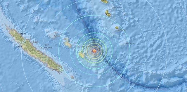 Terremoto de magnitud 7,0 en aguas cercanas a Nueva Caledonia