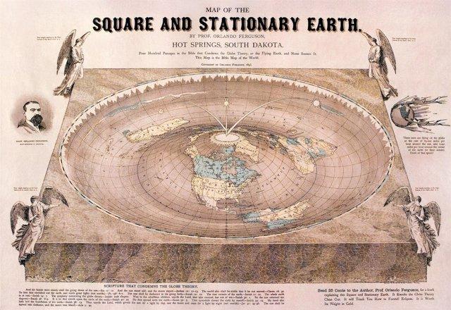 Representación de la Tierra plana del siglo XIX